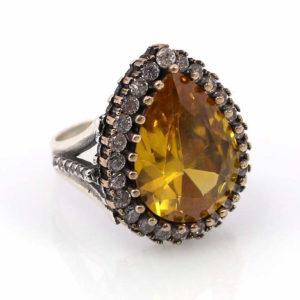 Srebrny pierścień z cytrynem