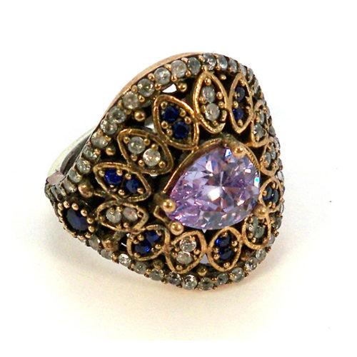 Ażurowy pierścionek Sułtanki z ametystem