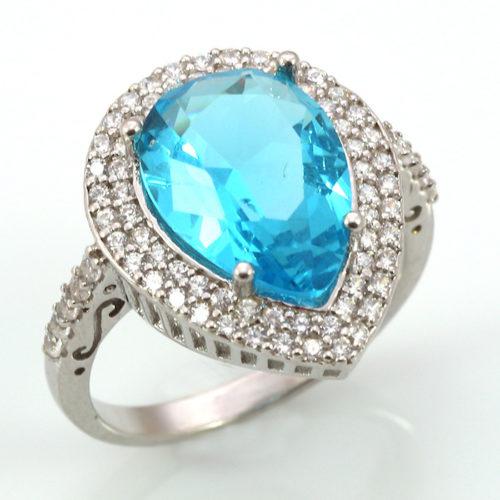 Pierścień Hurrem z błękitnym topazem - pełne srebro