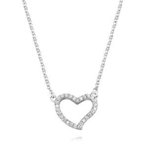 Srebrny naszyjnik - serce z cyrkoniami p.925