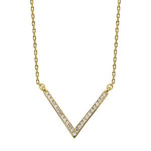 """Srebrny naszyjnik w kształcie """"V"""" z cyrkoniami pr. 925"""