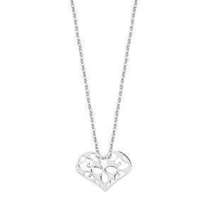 Srebrny naszyjnik z zawieszką z ażurowym sercem pr. 925