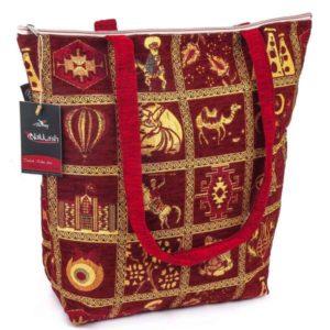 Duża bordowa torebka materiałowa - osmańskie wzornictwo