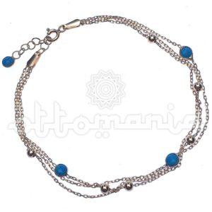 Pozłacana srebrna bransoletka turecka z turkusem