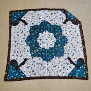 Osmańska apaszka z brązem i niebieskim kwiatem