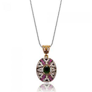 Masywny, srebrny naszyjnik ze szmaragdem i rubinami
