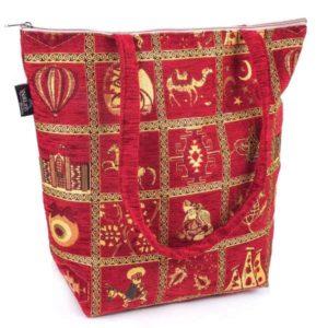 Duża czerwona torebka materiałowa - osmańskie wzornictwo