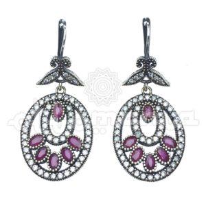 Duże kolczyki srebrne, osmańskie z rubinami