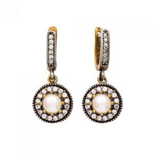 Srebrne delikatne kolczyki z białą perłą - srebro próba 925
