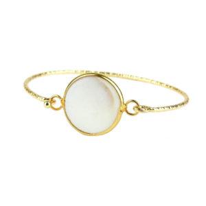 Mosiężna bransoletka pozłacana z białym kamieniem