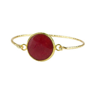 Mosiężna bransoletka pozłacana z czerwonym kamieniem