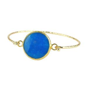 Mosiężna bransoletka pozłacana z niebieskim kamieniem