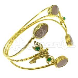 Mosiężna bransoletka oplatająca rękę z cyrkoniami, akcenty flory