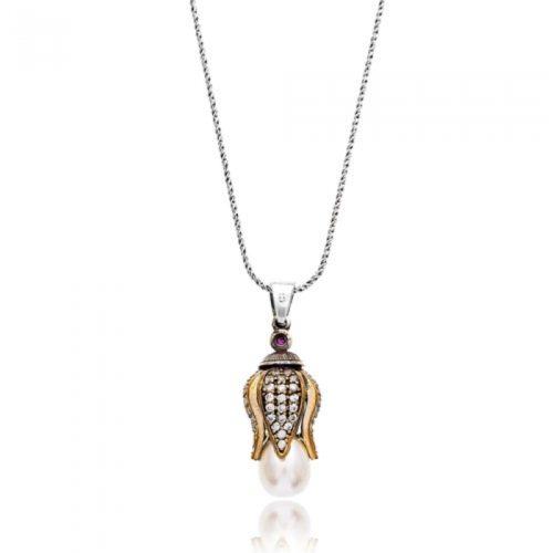 Srebrny naszyjnik z perłą w kształcie tulipana