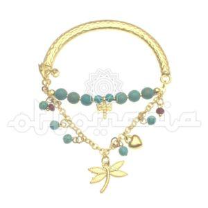 Mosiężna bransoletka z ottomańskiej kolekcji z turkusem
