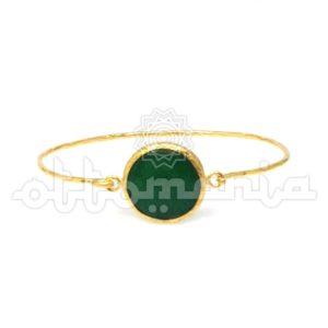 Mosiężna bransoletka pozłacana z zielonym kamieniem