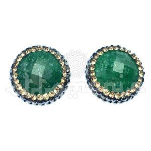 Srebrne kolczyki osmańskie z zielonym kamieniem i kryształami Swarovskiego