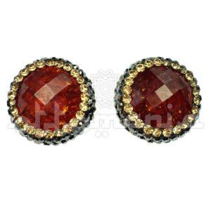 Srebrne kolczyki osmańskie z czerwonym kamieniem i kryształami Svaroskiego