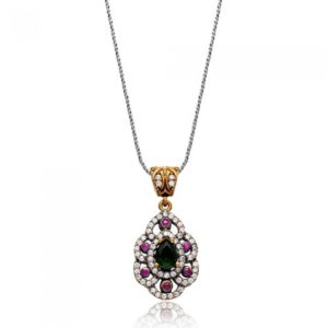 Srebrny naszyjnik z rubinami i szmaragdem