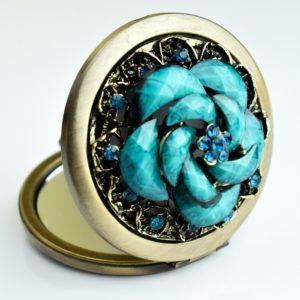 Zdobione lusterko osmańskie - niebieski kwiat