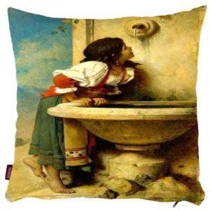 Dziewczynka przy fontannie - poszewka na poduszkę