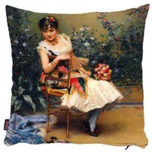 Kobieta siedząca na krześle - poszewka na poduszkę