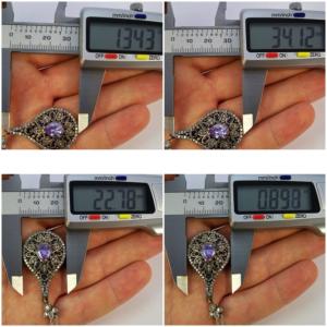 Ażurowe kolczyki Sułtanki Hurrem z ametystem i szafirami - srebro 925