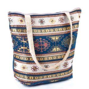 Niebiesko-kremowa torebka z dużymi uszami - osmańskie zdobienie