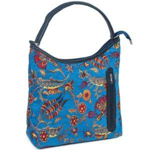 Niebieska torba na ramię z kieszonką - osmańskie zdobienie