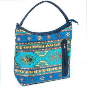 Turkusowa torebka na ramię z kieszonką - osmańskie zdobienie
