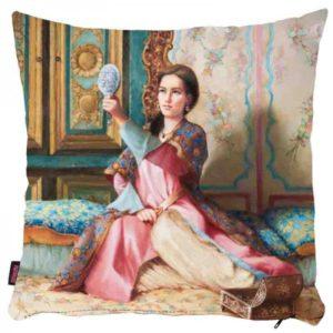 Osmańska kobieta z lusterkiem - poszewka na poduszkę