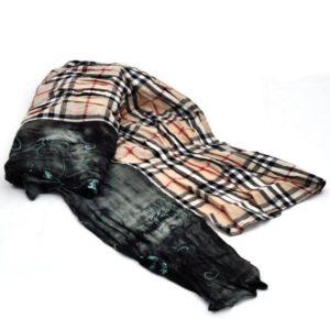 Osmański szal w kratę kremowy - pięknie wykończony