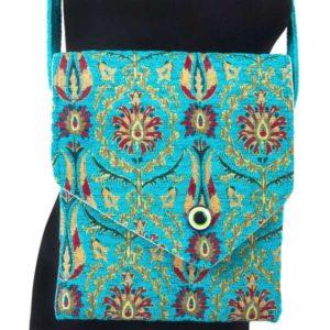 Podłużna turkusowa torebka z okiem proroka - osmańskie zdobienie