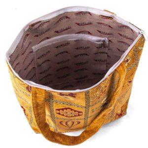 Torebka z dużymi uszami w kolorze musztardowym z osmańskim zdobieniem