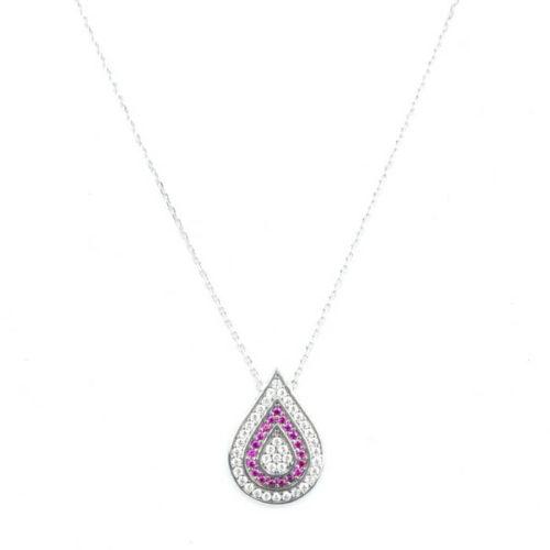 Srebrny naszyjnik łezka z cyrkoniami i rubinami