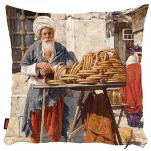 Stary handlarz na targu - poszewka na poduszkę