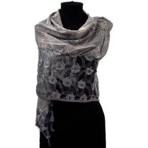 Szary szal osmański z frędzlami w kolorze szaro-beżowym