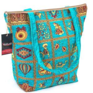 Turkusowa torba z uszami w osmańskim stylu