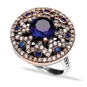 Masywny, Gwieździsty srebrny pierścień z szafirami