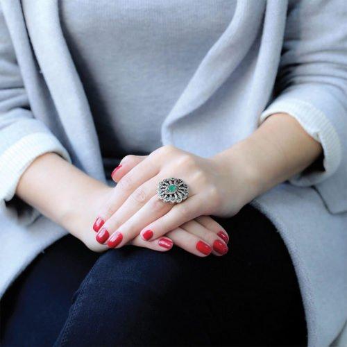 """Osmański pierścień """"szmaragdowy kwiat"""""""
