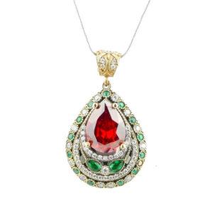 Wielki naszyjnik w kształcie łezki z rubinami i szmaragdami