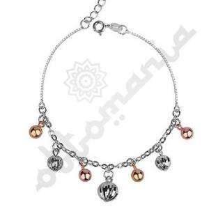 Srebrna bransoletka z elementami diamentowanymi