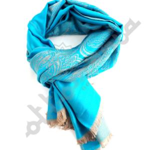 Jasny niebieski kaszmirowy szal z osmanskim wzorem