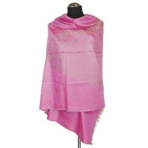 Różowy kaszmirowy szal ze złotym osmańskim wzorem