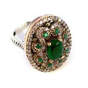Osmański pierścień Hurrem ze szmaragdami