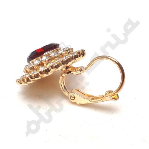 Okragle kolczyki pozlacane z rubinowym kamieniem