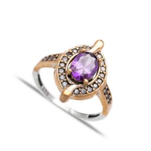 Delikatny srebrny pierścień z ametystem