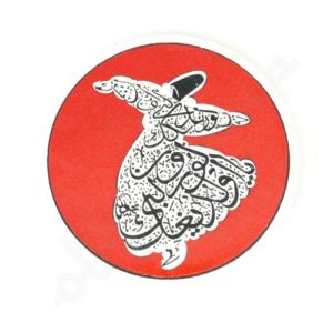 Czerwona ceramiczna podkładka pod kubek 9 cm z derwiszem