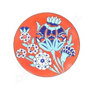 Czerwona ceramiczna podkładka pod kubek 9 cm z motywem kwiatowym