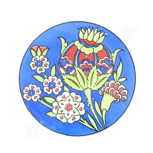 Niebieska ceramiczna podkładka pod kubek 9 cm z motywem kwiatowym